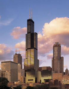 The Sears Tower (aka: The Willis Tower), Chicago, IL, 2014, readymade, 110 stories, 1,451 ft in height, 4,477,800 sq. ft. (1,451 x 255 x 255 ft.) weight: 222,500 (tons)